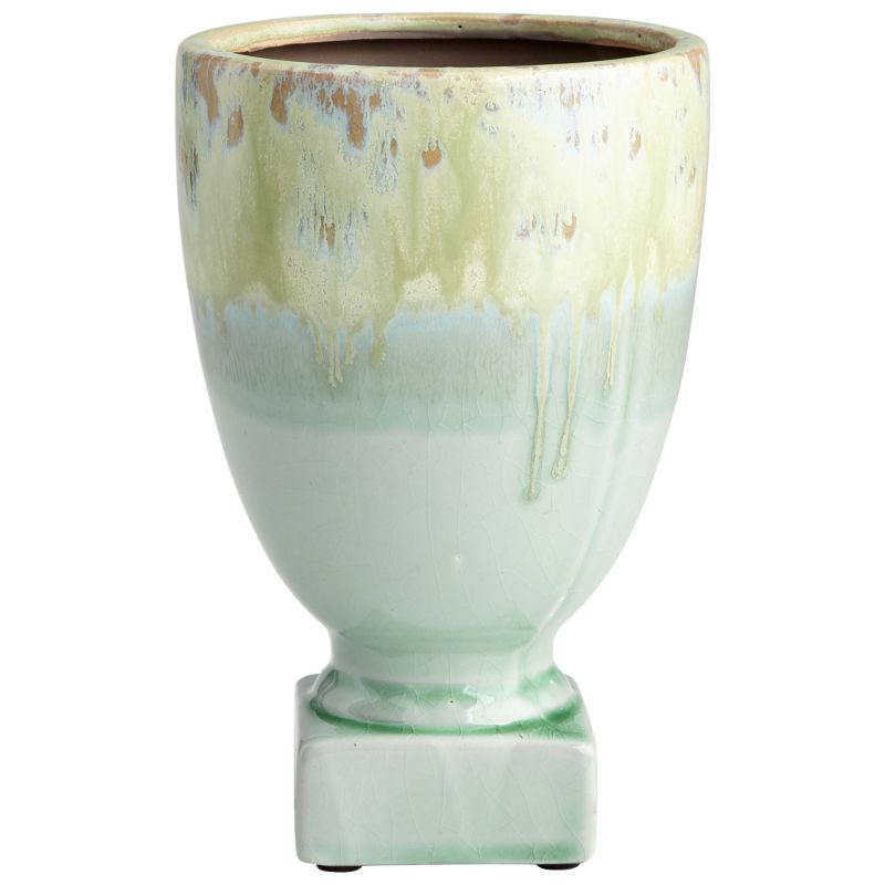 "Cyan Design 08745 Bella Delta 10"" Tall Terra Cotta Planter Green Glaze"