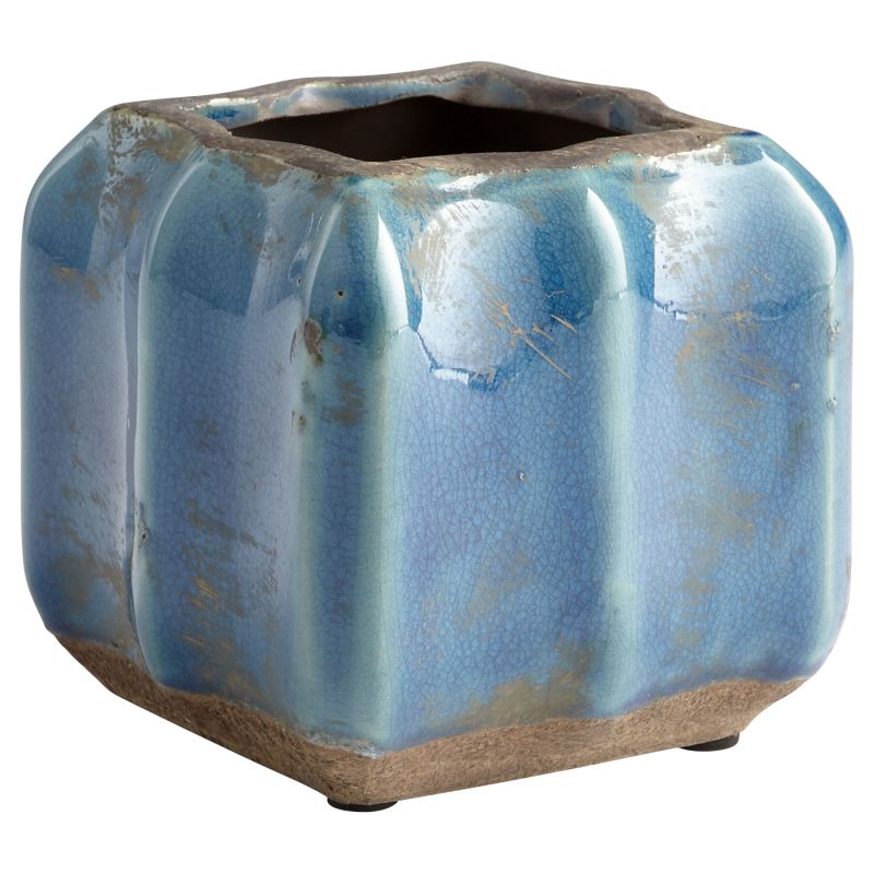 "Cyan Design 08747 Redondo 5"" Tall Terra Cotta Planter Blue Glaze Home"