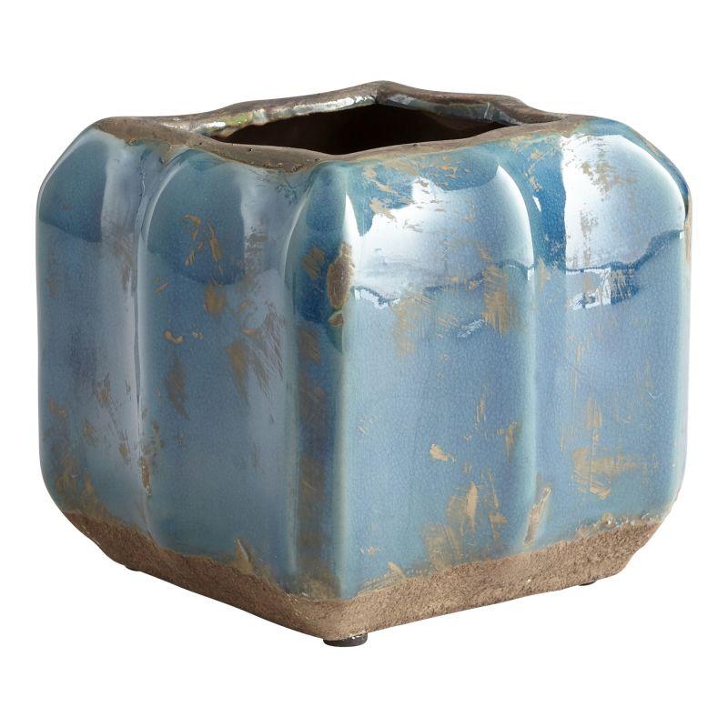 """Cyan Design 08748 Redondo 6"""" Tall Terra Cotta Planter Blue Glaze Home"""