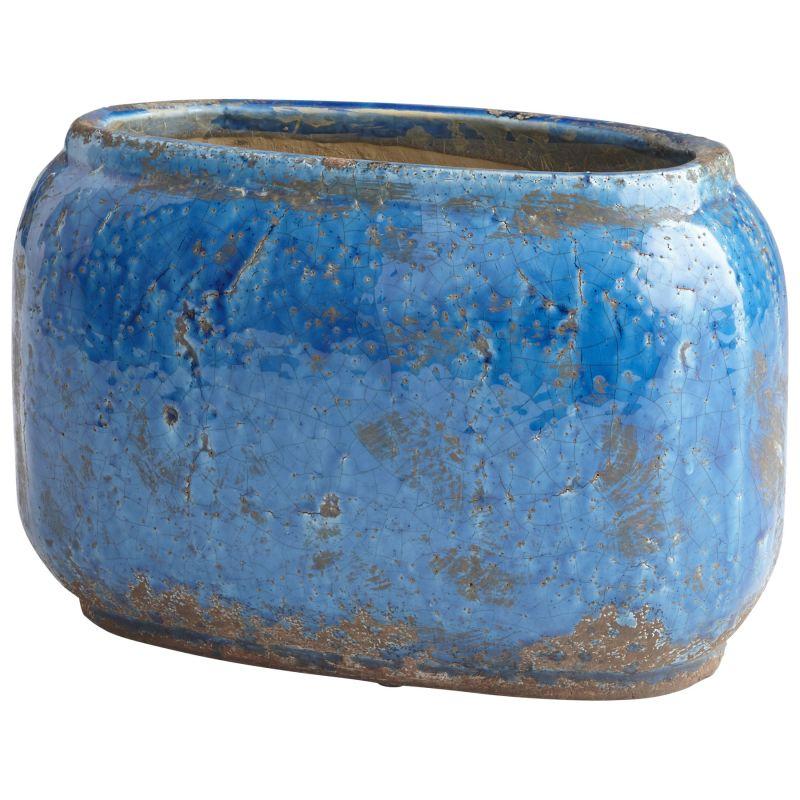 """Cyan Design 08751 Ventura 8"""" Tall Terra Cotta Planter Blue Glaze Home"""