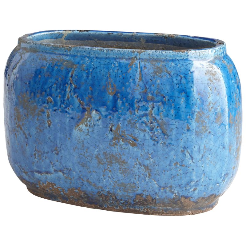 "Cyan Design 08752 Ventura 9"" Tall Terra Cotta Planter Blue Glaze Home"