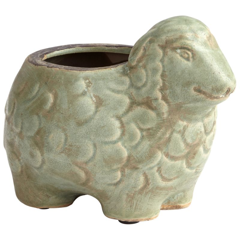"Cyan Design 08763 Lala Lamb 5"" Tall Terra Cotta Animal Planter Green"
