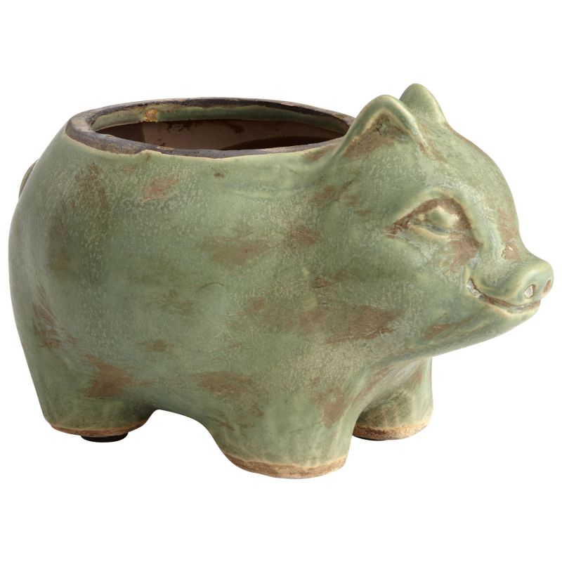"Cyan Design 08765 Mr. Oinkers 4"" Tall Terra Cotta Animal Planter Green"