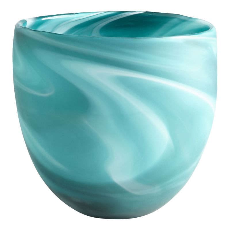 "Cyan Design 08783 Sea Swirl 8"" Tall Glass Blue-Green Swirl Decorative"