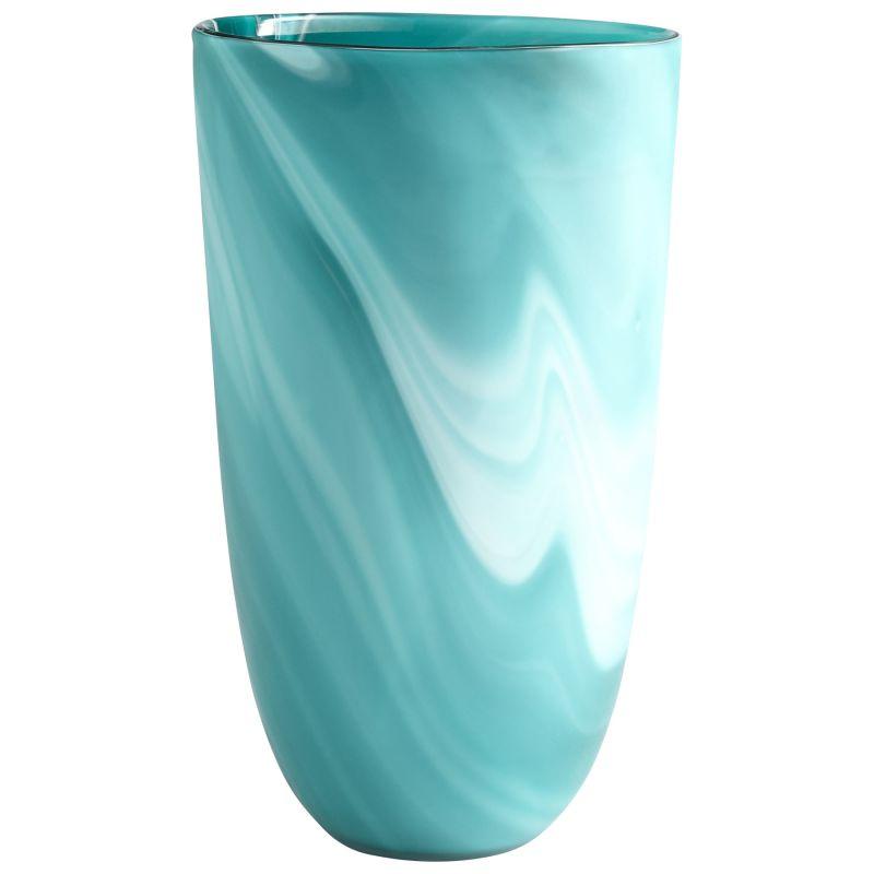 "Cyan Design 08785 Sea Swirl 14"" Tall Glass Swirl Vase Green Home Decor"