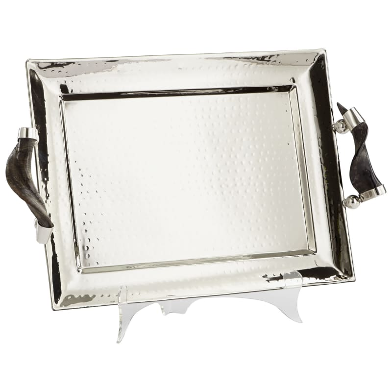 "Cyan Design 08858 12"" Tall Hammered Finish Decorative Tray Stainless"