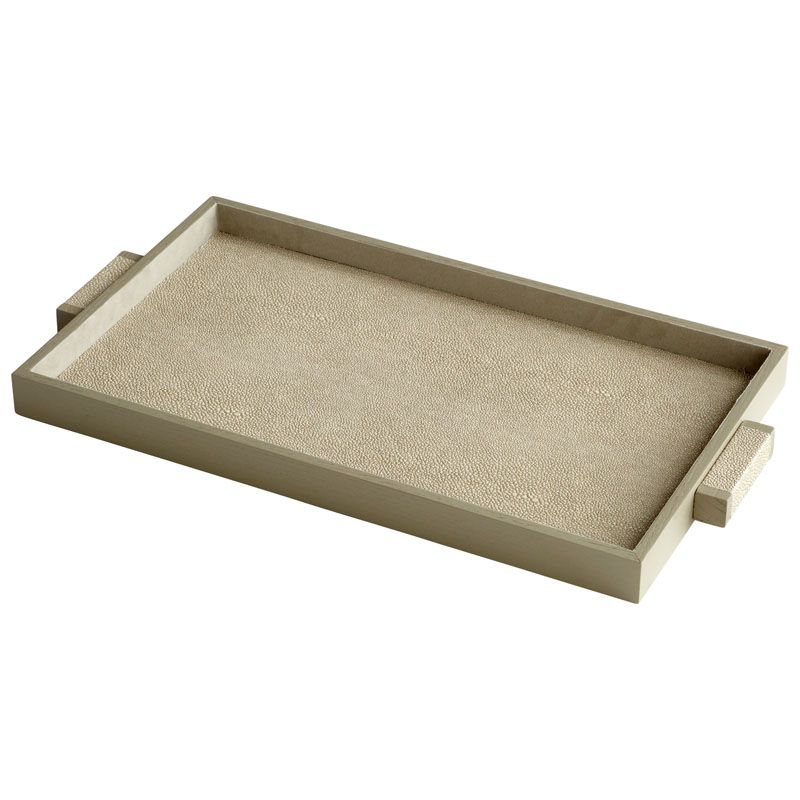 Cyan Design Medium Melrose Tray Melrose 22 Inch Wide Leather and Wood