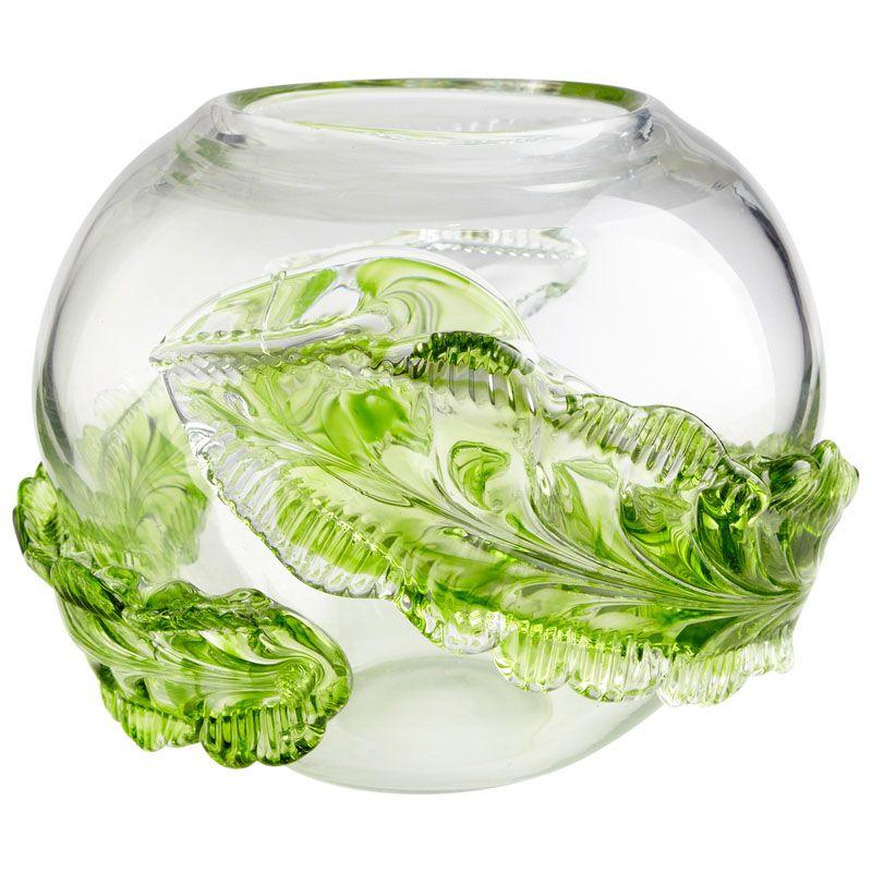 Cyan Design Large Leaf Vase Leaf 8 Inch Tall Glass Vase Green Home