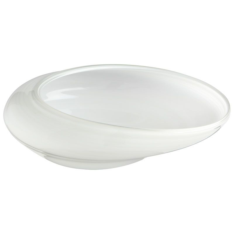 Cyan Design Small White Oyster Bowl Oyster 16.25 Inch Wide Glass