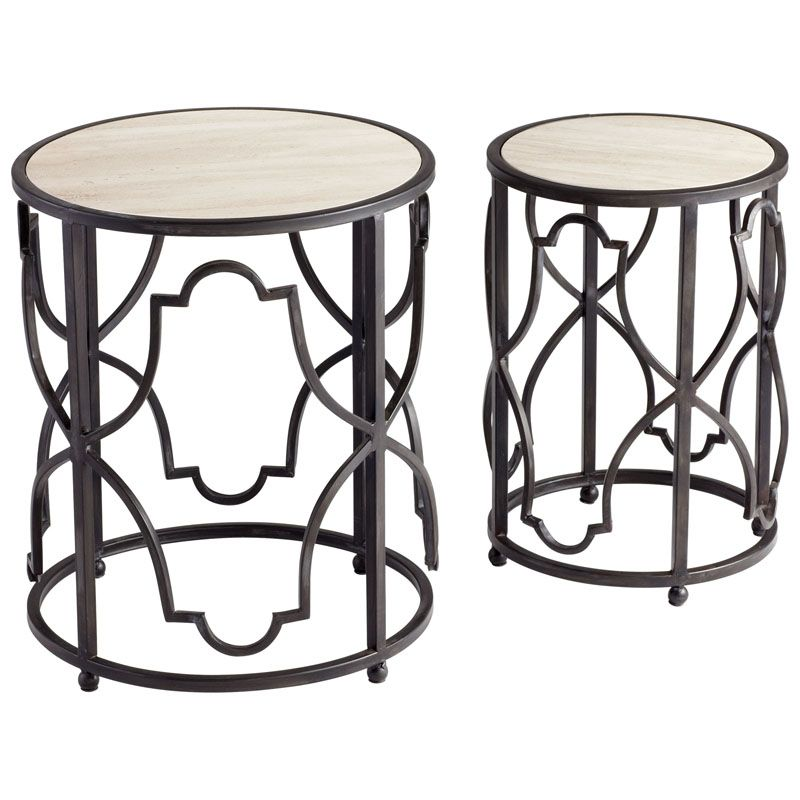 Cyan Design Gatsby Tables Gatsby 18.5 Inch Diameter Iron and Marble