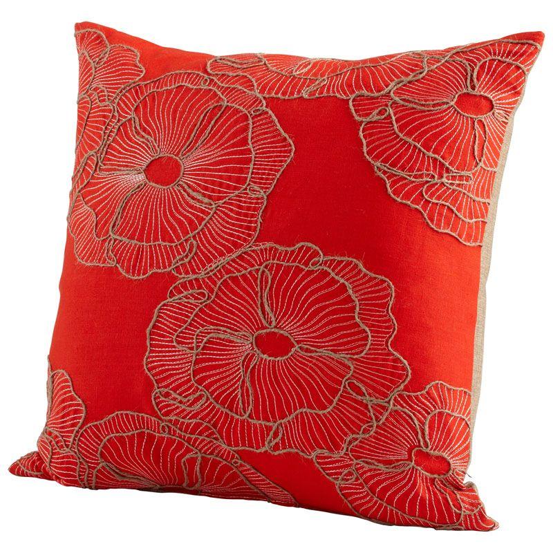 Cyan Design Petunia Pillow Petunia 18 x 18 Square Pillow Red Home