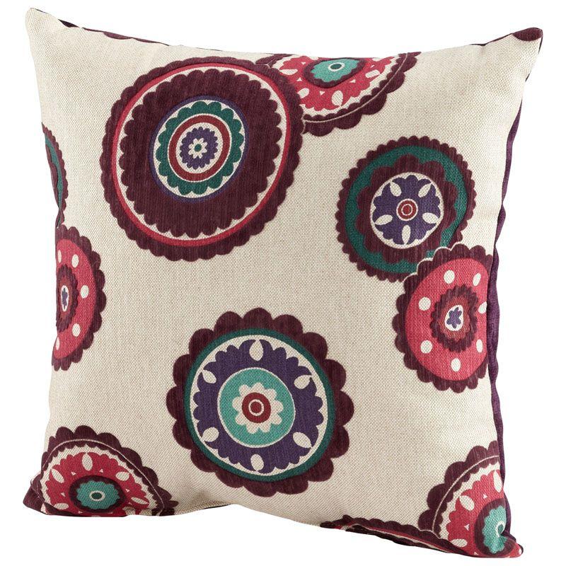 Cyan Design Peony Pillow Peony 18 x 18 Square Pillow Fuchsia and White