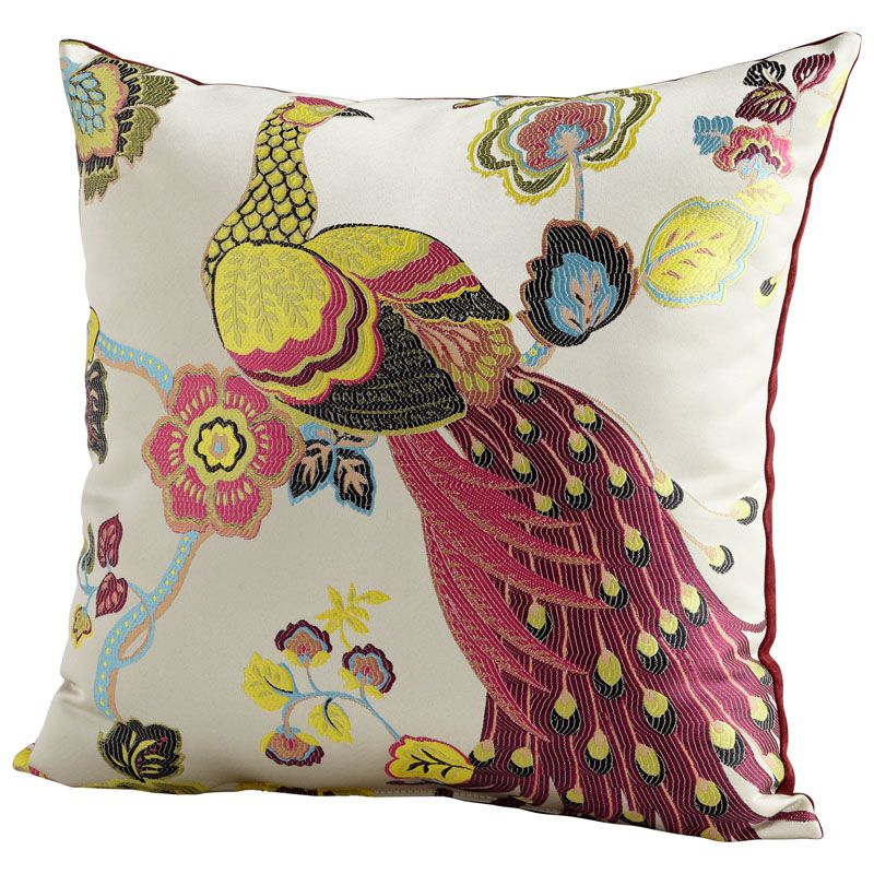Cyan Design Peacock Pillow Peacock 22 x 22 Square Pillow Fuchsia and