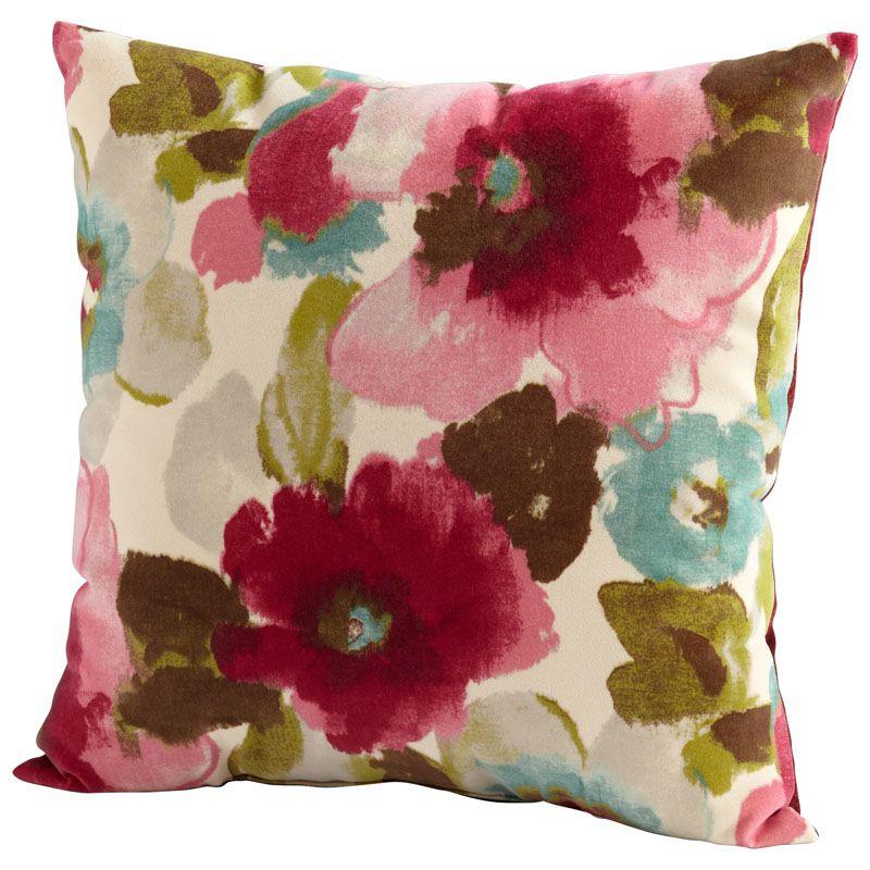 Cyan Design Zinnia Pillow Zinnia 22 x 22 Square Pillow Fuchsia and