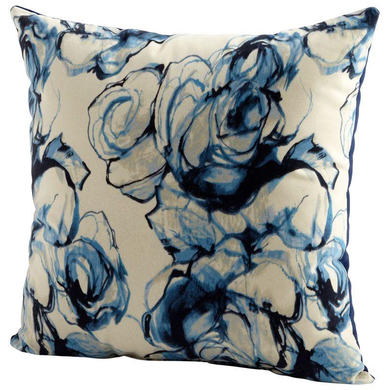 Cyan Design Monet Pillow Monet 22 x 22 Square Pillow Blue and White