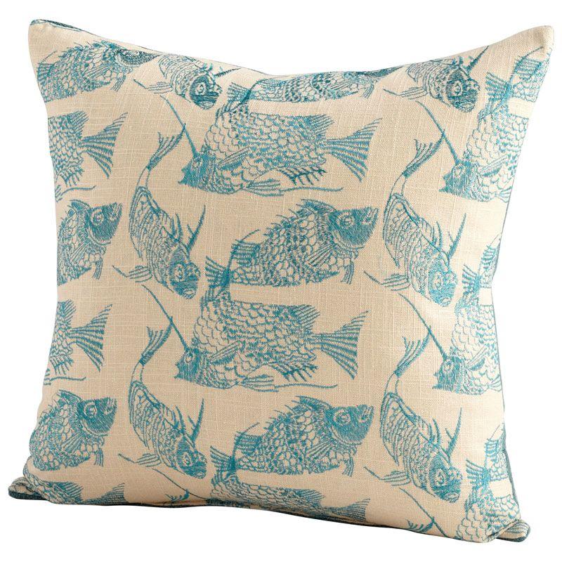 Cyan Design Angler Pillow Angler 18 x 18 Square Pillow Turquoise /