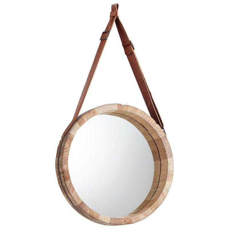 Cyan Design Large Canteen Mirror 7 Inch Diameter Canteen Wood Mirror