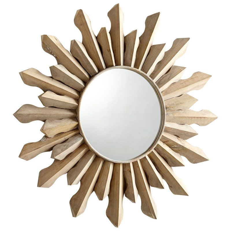 Cyan Design Sol Mirror 7 Inch Diameter Sol Wood Mirror Whitewash Home