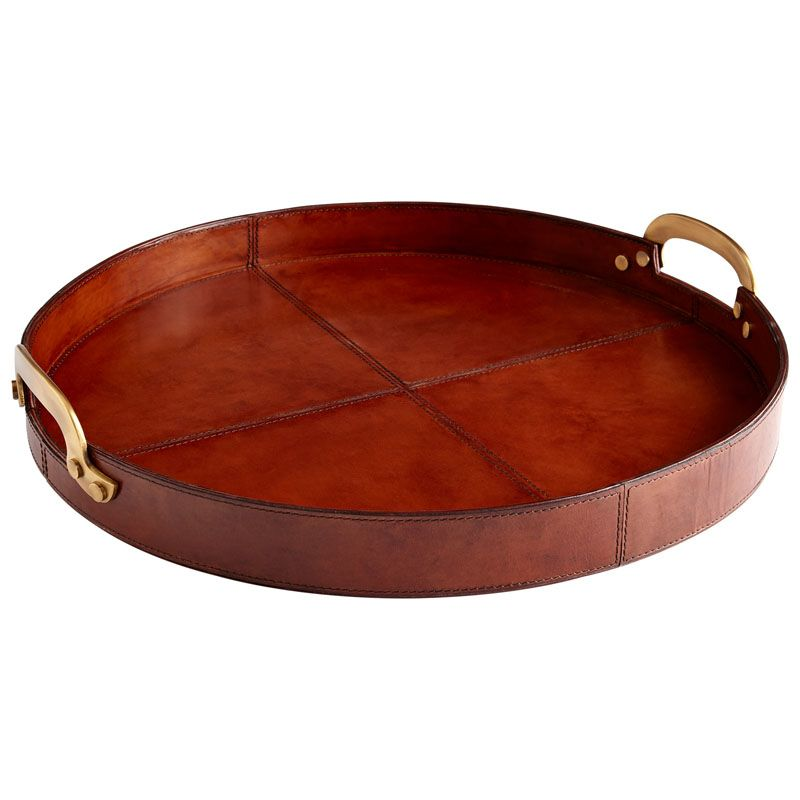 Cyan Design Large Bryant Tray Bryant 20 Inch Diameter Wood and Leather