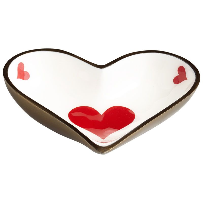 Cyan Design Heart Tray Heart 6 Inch Wide Aluminum Tray Made in India
