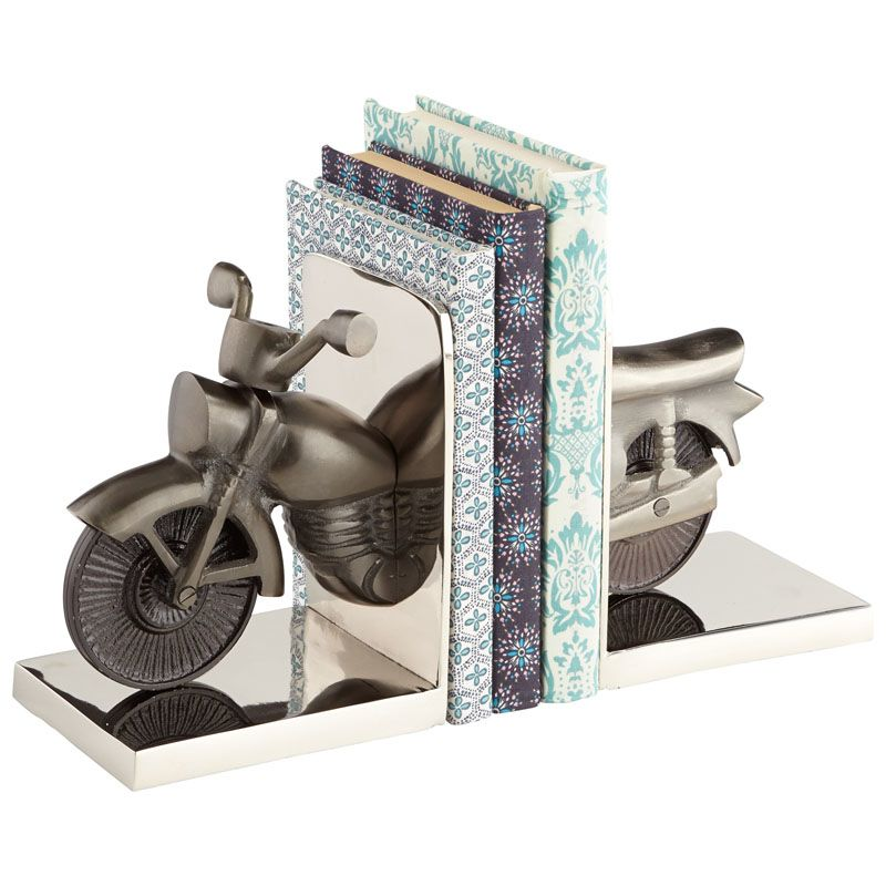 Cyan Design Cruiser Bookends 7 Inch Tall Cruiser Bookends Nickel Home