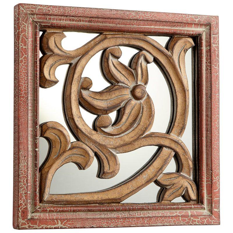 Cyan Design Vitis Mirror 10 x 10 Vitis Square Wood Frame Mirror Made