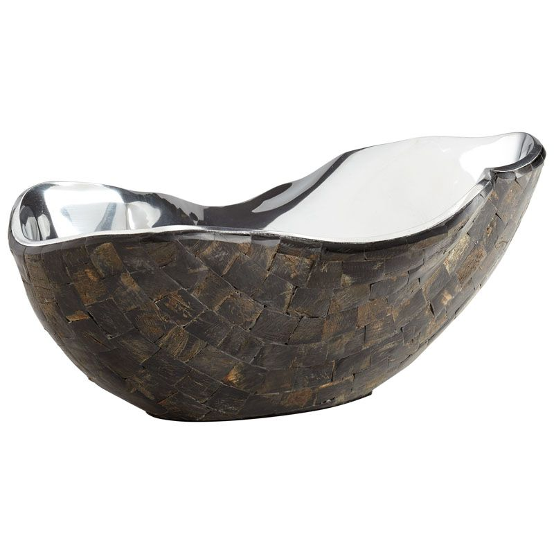 Cyan Design Large Ferrara Bowl Ferrara 14 Inch Wide Aluminum and Horn
