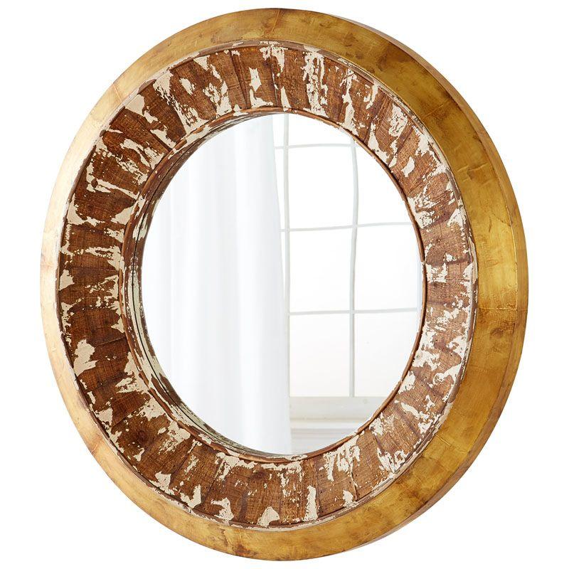 Cyan Design Odyssey Mirror 7 Inch Diameter Odyssey Wood Mirror Pine
