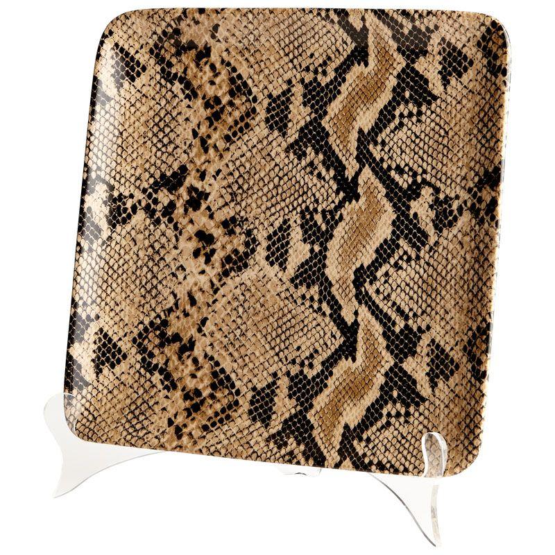Cyan Design Small Boa Tray Boa 10.25 Inch Wide Ceramic Tray Snake Skin