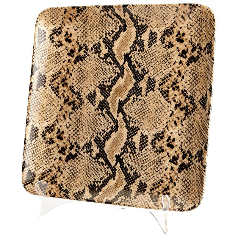 Cyan Design Large Boa Tray Boa 13.25 Inch Wide Ceramic Tray Snake Skin