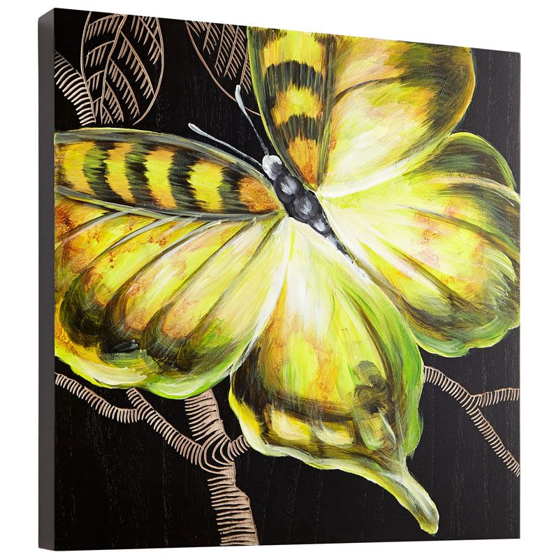 Cyan Design Monarch Wall Art Monarch 15.75 x 15.75 Wood Wall Art Black