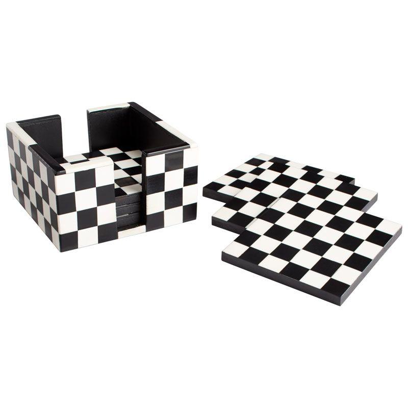 Cyan Design Check Mate Coasters Check Mate 4.75 Inch Wide Horn Bone