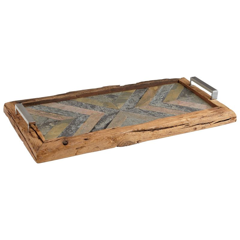 Cyan Design Worn Welcome Tray Worn Welcome 25 Inch Wide Wood and Stone