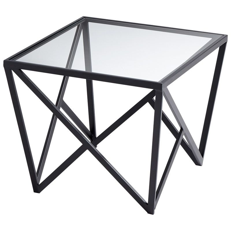 Cyan Design Dimitri Side Table Dimitri 23.75 Inch Long Iron and Glass