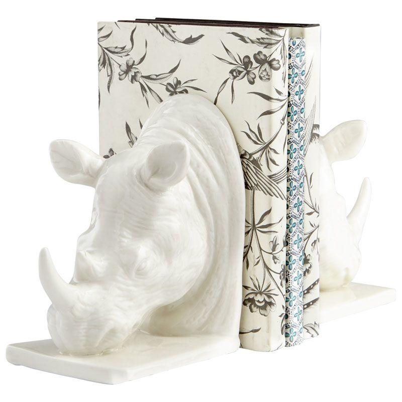 Cyan Design Rhino Sculpture 6.75 Inch Tall Rhino Sculpture Bookends