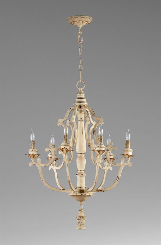 Cyan Design 04633 Maison 6 Light 1 Tier Chandelier Persian White