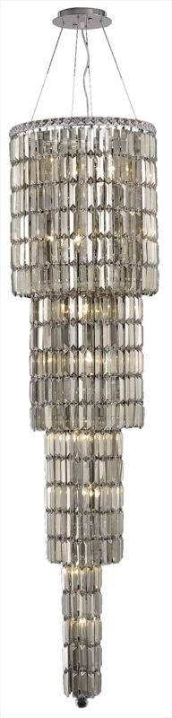 "Elegant Lighting 2030G66C-GT Maxim 18-Light Four-Tier Crystal Sale $32024.00 ITEM#: 2013389 MODEL# :2030G66C-GT/SS UPC#: 848145039093 Elegant Lighting 2030G66C-GT Maxim 18-Light, Four-Tier Crystal Chandelier, Finished in Chrome with Smoky Golden Teak Crystals Elegant Lighting 2030G66C-GT Features: Base Finish: Chrome with Smoky Golden Teak Crystal Choose from Royal Cut or Swarovski Elements Crystal Types: Royal Cut- a combination of high quality, lead-free, machine cut and polished crystals, and full-lead machine-cut crystals, whose appearance rivals that of a more expensive chandelier crystal Swarovski Elements- An exercise in technical perfection, Swarovski Elements crystal meets all standards of perfection. It is original, flawless and brilliant, possessing lead oxide in excess of 33%. Made in Austria, each facet is perfectly cut and polished by machine to maintain optical purity and consistency Uses (18) 60-Watt Candelabra Base Bulbs (not included) Hanging weight 99 lbs Includes 72 inches of chain/wire for installation Four tier chandelier Product Dimensions: 66""H x 18""W From the Elegant Lighting Maxim Collection Elegant Lighting, headquartered in Philadelphia, PA, is a premium designer of crystal lighting. Since its inception in the year 2000, Elegant Lighting has made innovative strides in crystal lighting design, that resulted in them becoming the fastest-growing crystal lighting company in the industry. Elegant Lighting actively ensures, throughout every step of production, that the lighting you purchase is a beautiful piece of art, and that it graces your home or business with its sheer perfection. :"