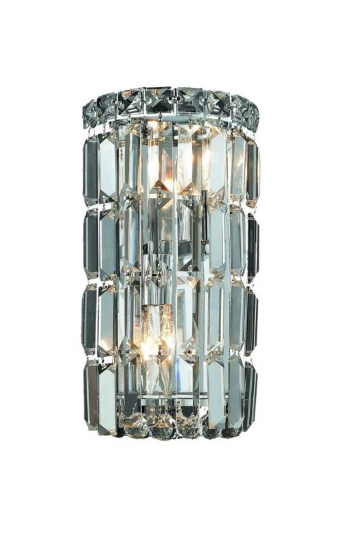 Elegant Lighting 2030W6C Maxim 2-Light Crystal Wall Sconce Finished