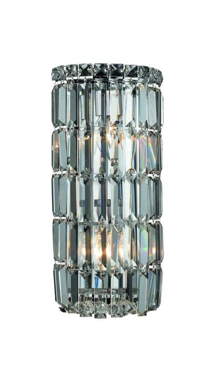 Elegant Lighting 2030W8C Maxim 2-Light Crystal Wall Sconce Finished