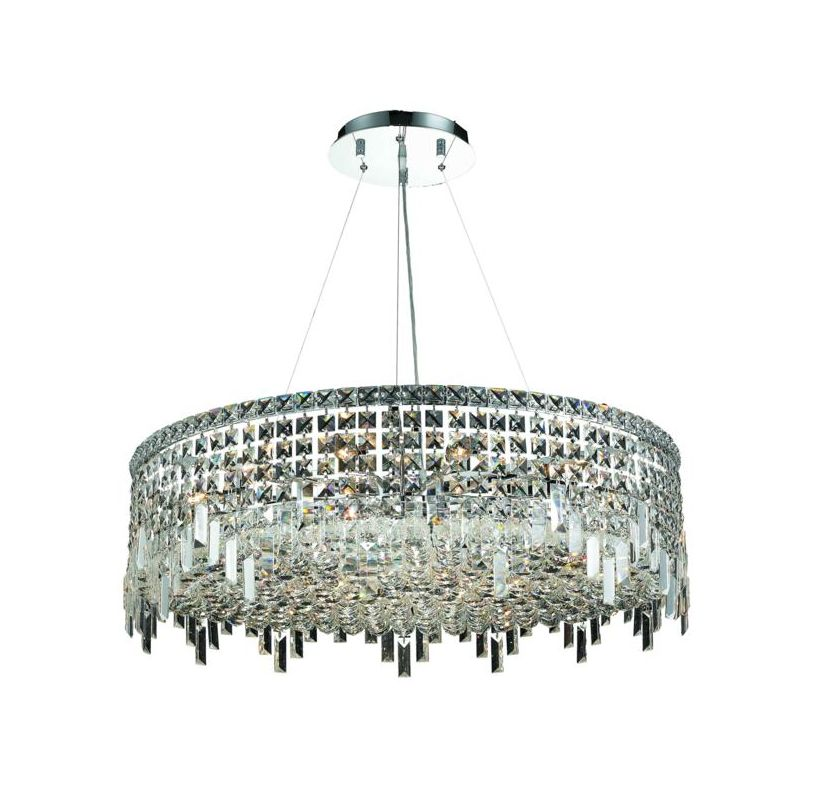 Elegant Lighting 2031D32C Maxim 18-Light Crystal Pendant Finished in