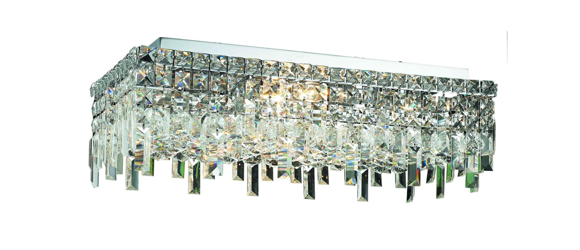 "Elegant Lighting 2035F24C Maxim 6-Light Single-Tier Flush Mount Sale $1170.00 ITEM#: 2013704 MODEL# :2035F24C/RC UPC#: 848145042659 Elegant Lighting 2035F24C Maxim 6-Light, Single-Tier Flush Mount Crystal Chandelier, Finished in Chrome with Clear Crystals Elegant Lighting 2035F24C Features: Base Finish: Chrome with Clear Crystal Choose from Royal Cut, Elegant Cut, Swarovski Spectra or Swarovski Elements Crystal Types: Royal Cut- a combination of high quality, lead-free, machine cut and polished crystals, and full-lead machine-cut crystals, whose appearance rivals that of a more expensive chandelier crystal Elegant Cut- Elegant Cut Crystals consist of 30% high quality full-lead machine-cut crystal that is above industry standards. It possesses sharp faceting polished to a visual radiance Swarovski Spectra- Beautiful and reliable quality crystal by Swarovski Swarovski Elements- An exercise in technical perfection, Swarovski Elements crystal meets all standards of perfection. It is original, flawless and brilliant, possessing lead oxide in excess of 33%. Made in Austria, each facet is perfectly cut and polished by machine to maintain optical purity and consistency Uses (6) 60-Watt Candelabra Base Bulbs (not included) Hanging weight 43 lbs Product Dimensions: 7""H x 12""D x 24""W From the Elegant Lighting Maxim Collection Elegant Lighting, headquartered in Philadelphia, PA, is a premium designer of crystal lighting. Since its inception in the year 2000, Elegant Lighting has made innovative strides in crystal lighting design, that resulted in them becoming the fastest-growing crystal lighting company in the industry. Elegant Lighting actively ensures, throughout every step of production, that the lighting you purchase is a beautiful piece of art, and that it graces your home or business with its sheer perfection. :"