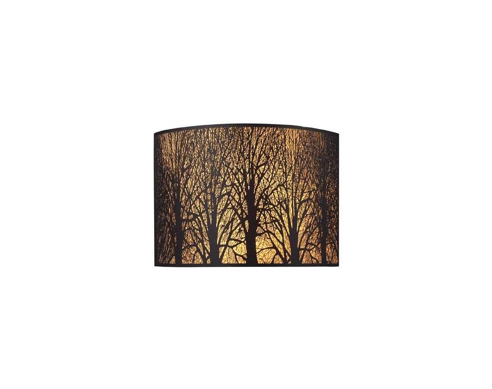 "Elk Lighting 31070/2 Aged Bronze Woodland Sunrise 5"" Extension Country / Rustic 2 Light Wall Washer Wall Sconce with a Drum Shade from the Woodland Sunrise Collection"
