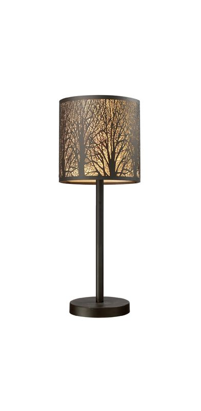 "Elk Lighting 31072/1 Aged Bronze Woodland Sunrise 20"" Height Country / Rustic 1 Light Table Lamp with a Drum Shade from the Woodland Sunrise Collection"