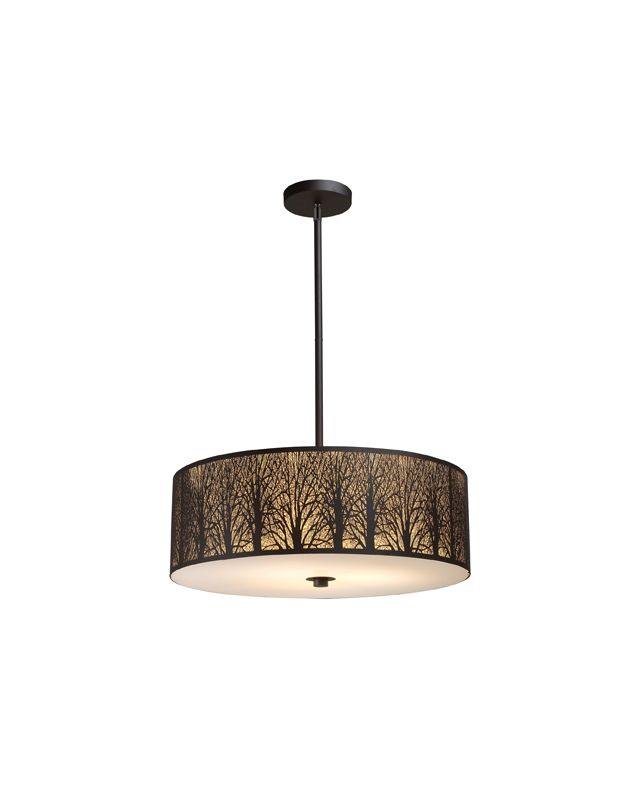 """Elk Lighting 31075/5 Aged Bronze Woodland Sunrise 8"""" Height Country / Rustic 5 Light Pendant with a Drum Shade from the Woodland Sunrise Collection"""