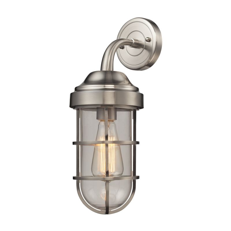 Elk Lighting 66355/1 Seaport 1 Light Wall Sconce Satin Nickel Indoor Sale $190.00 ITEM#: 2615225 MODEL# :66355/1 UPC#: 748119089027 :