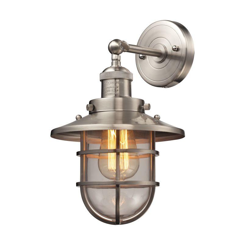 Elk Lighting 66356/1 Seaport 1 Light Wall Sconce Satin Nickel Indoor Sale $210.00 ITEM#: 2615226 MODEL# :66356/1 UPC#: 748119089065 :