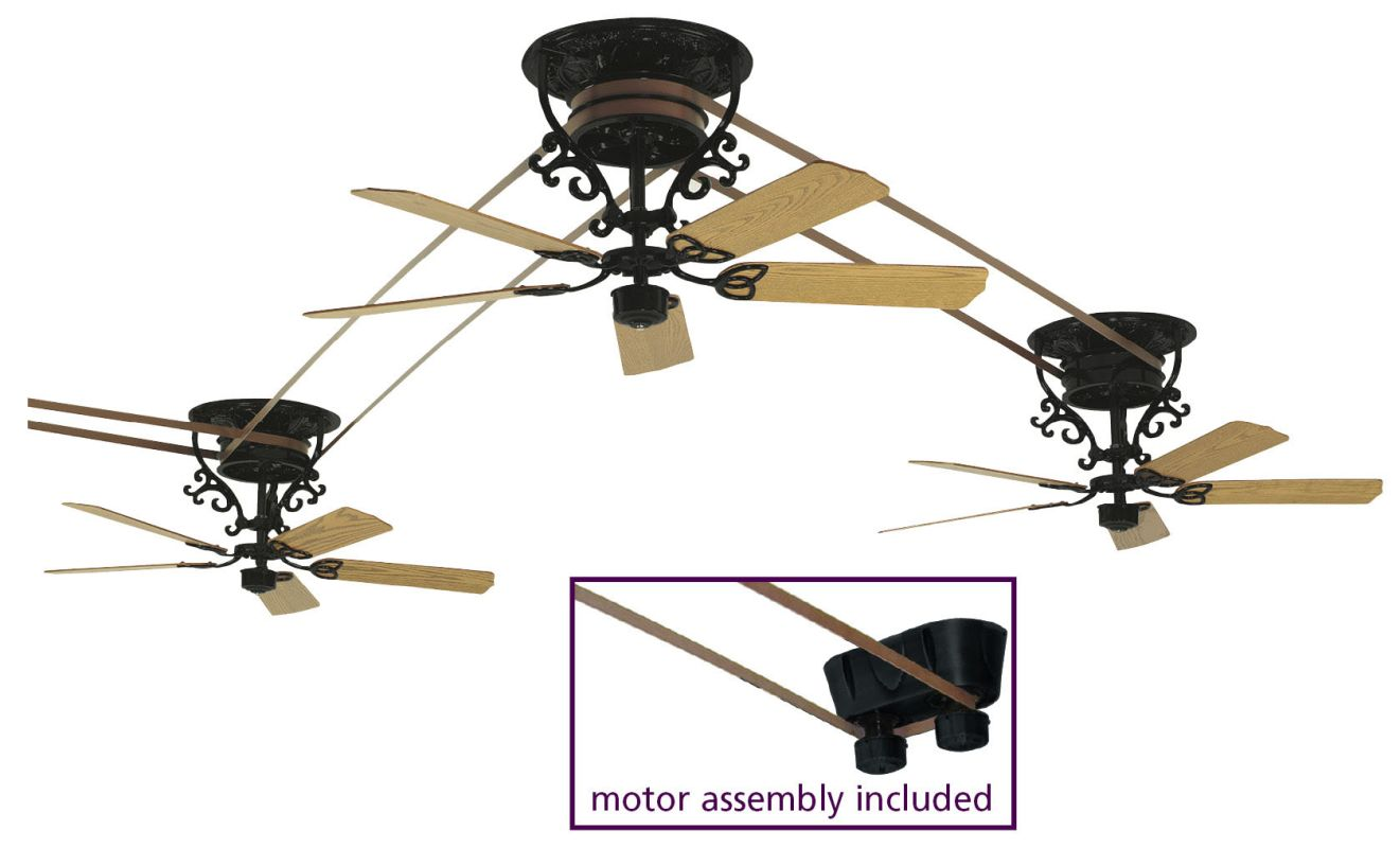 "Fanimation FP580BL-18-S3 52"" 15 Blade 3 Head Ceiling Fan - Motor Sale $7354.95 ITEM#: 2368149 MODEL# :FP580BL-18-S3 UPC#: 840506057753 :"
