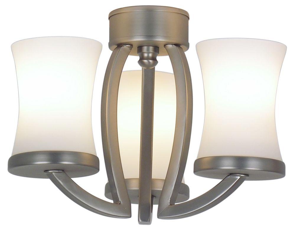 Fanimation LK500 3 Light Contemporary Candelabra Light Kit with Glass Sale $61.00 ITEM#: 543630 MODEL# :LK500SN UPC#: 840506051201 :