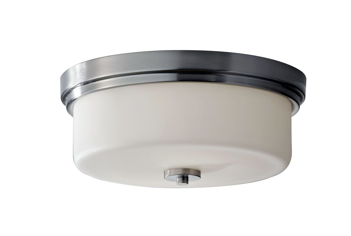 Feiss FM370 Kincaid 2 Light Flush Mount Ceiling Fixture Brushed Steel