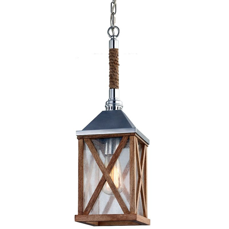 Feiss P1326 Lumiere 1 Light Lantern Pendant Natural Oak / Brushed